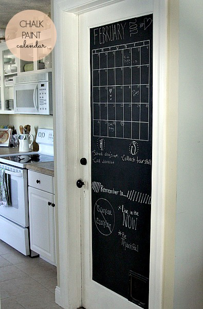 A door painted with chalkboard paint.