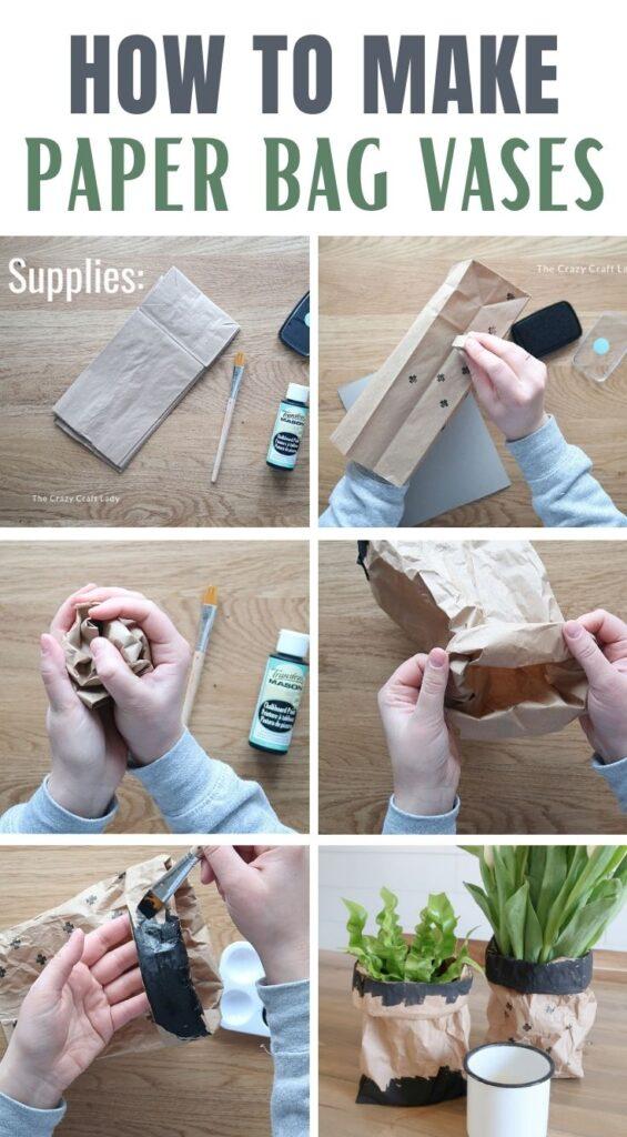 step-by-step making paper bag vases