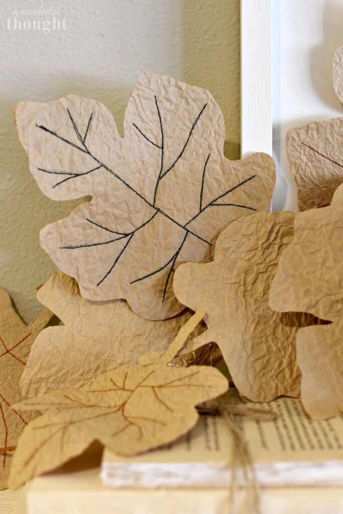 Leaves cut from crinkled paper bags.