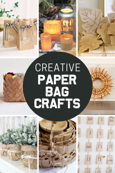 Collage showing fun and creative paper bag craft ideas.