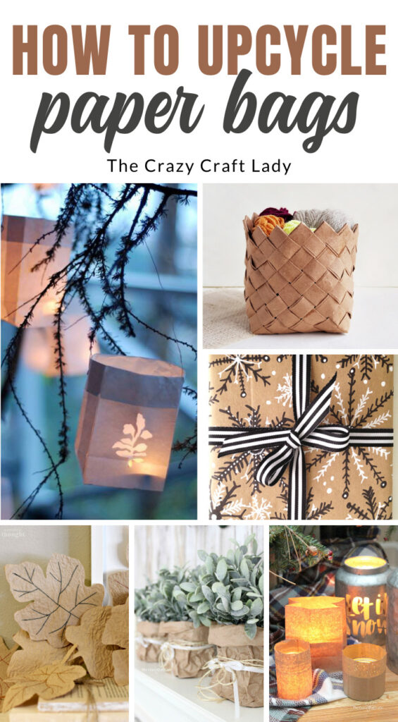A collage showing fun ways to use old paper bags.