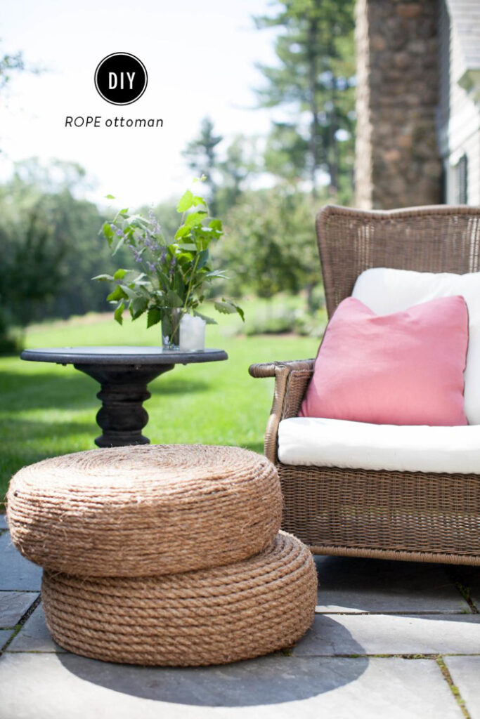 A stack of rope ottomans in front of a garden chair.