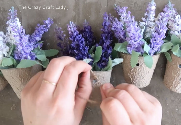 Run twine through the holes in the paper pot - secure with a knot
