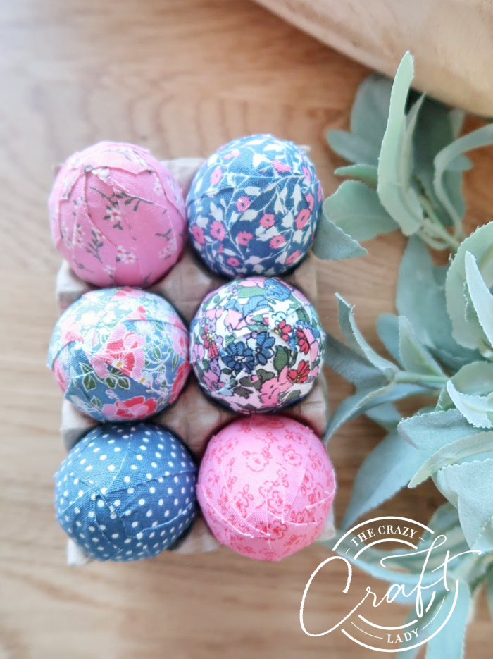 fabric tape covered easter eggs