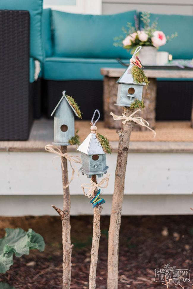 Dollar Store Garden Bird Houses