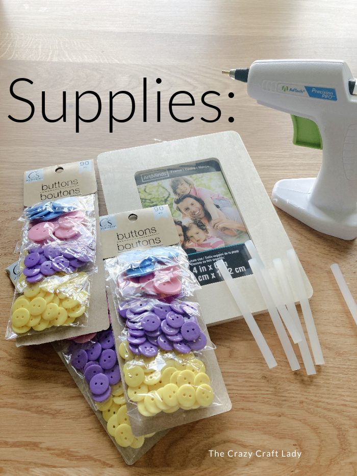 Supplies needed to make a button picture frame
