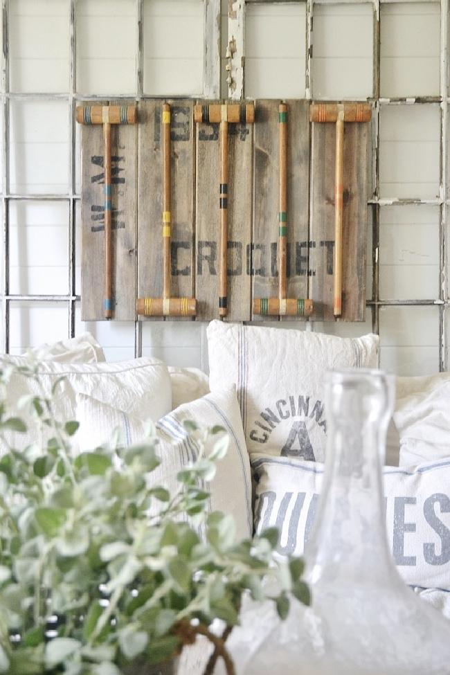 croquet mallet wall decor