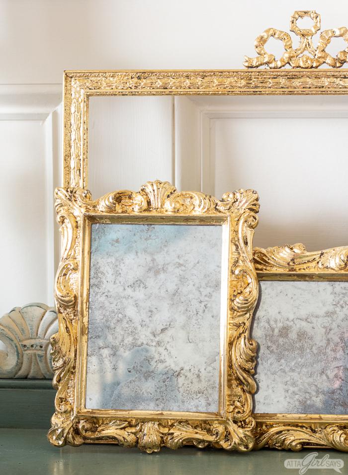 Gold leaf covered photo frames.