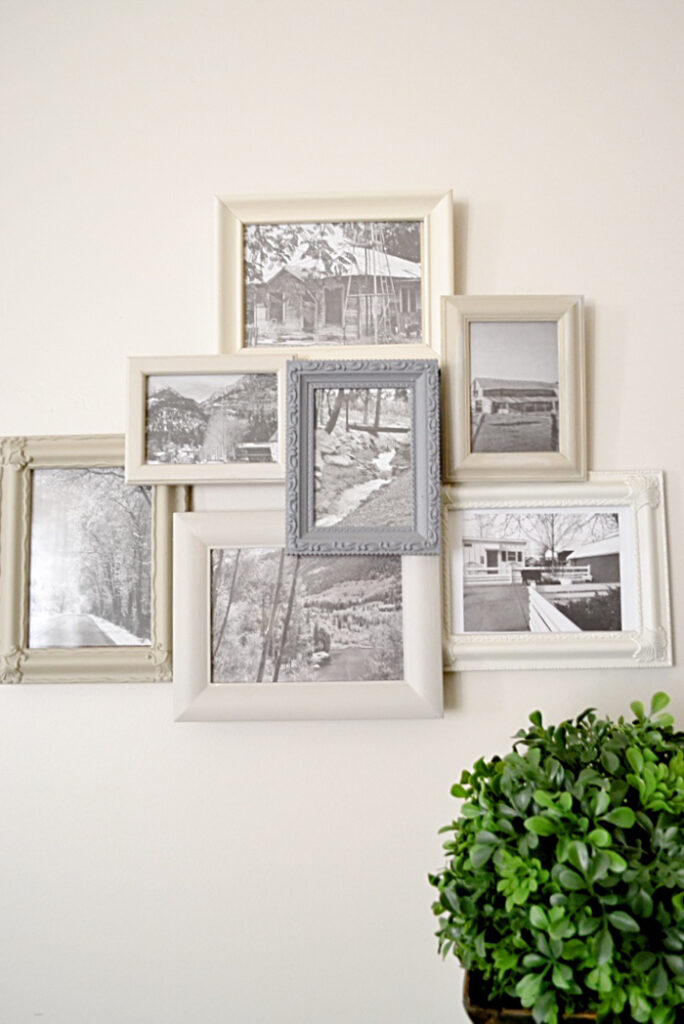 Layered photo frames in different shades of gray - creative way to upcycle picture frames