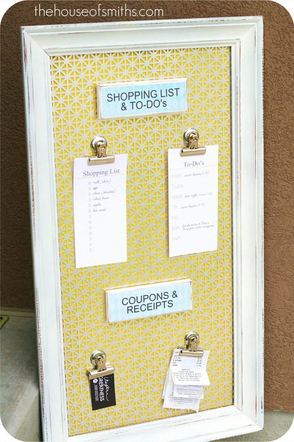 A notice board made from an old picture frame.