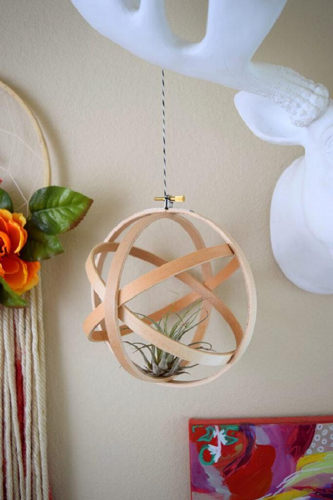 Air Plant Embroidery Hoop Orb