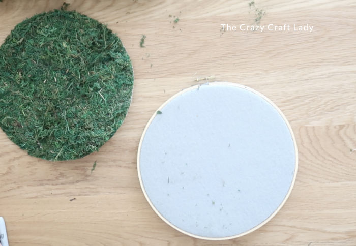Cut the moss down to size - so it fits nicely inside the hoop