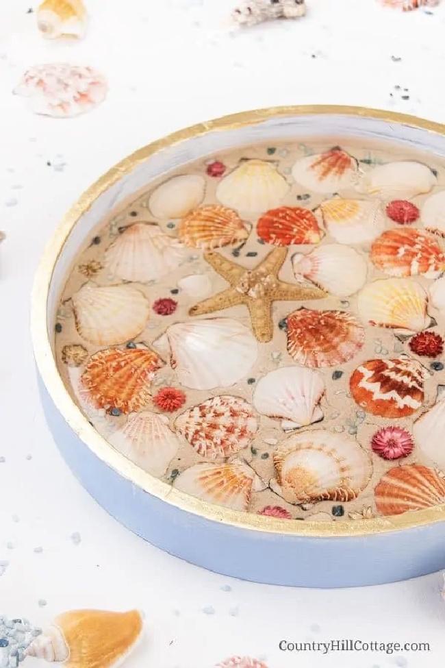 DIY Beach Tray With Seashells