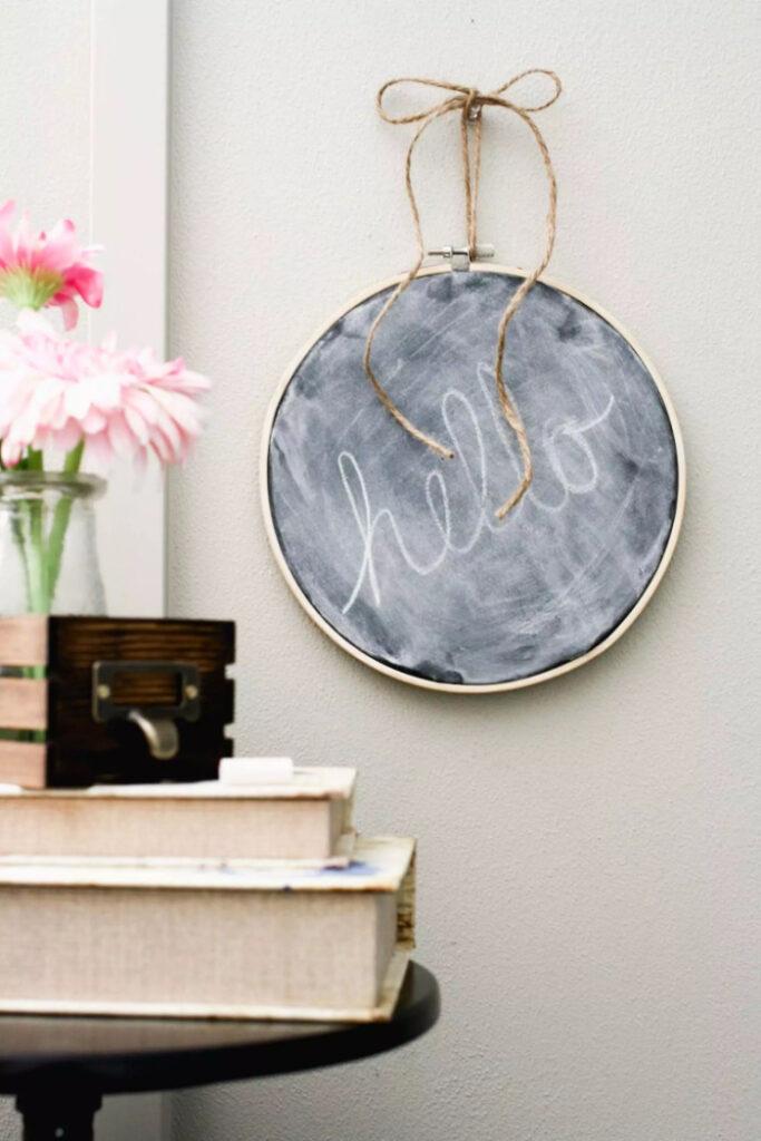 DIY Chalkboard Embroidery Hoop