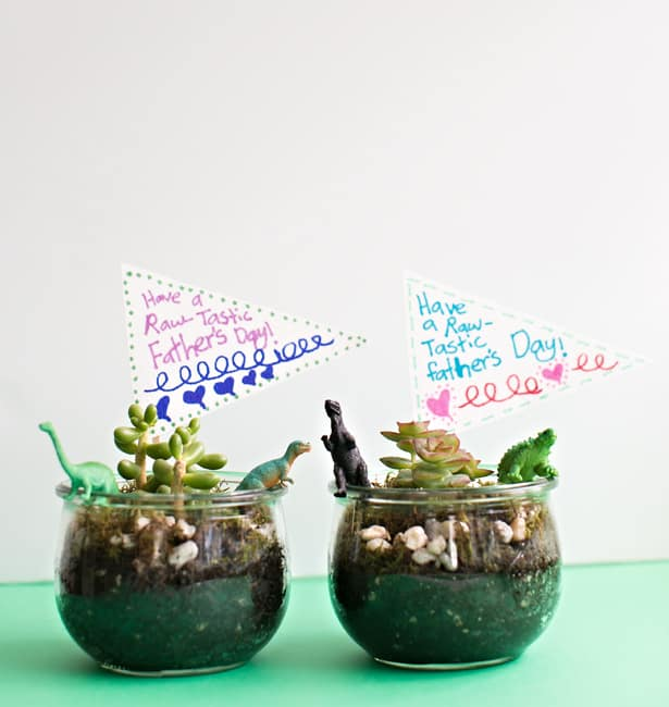 DIY Dinosaur Terrariums Father's Day Gift Kids Can Make