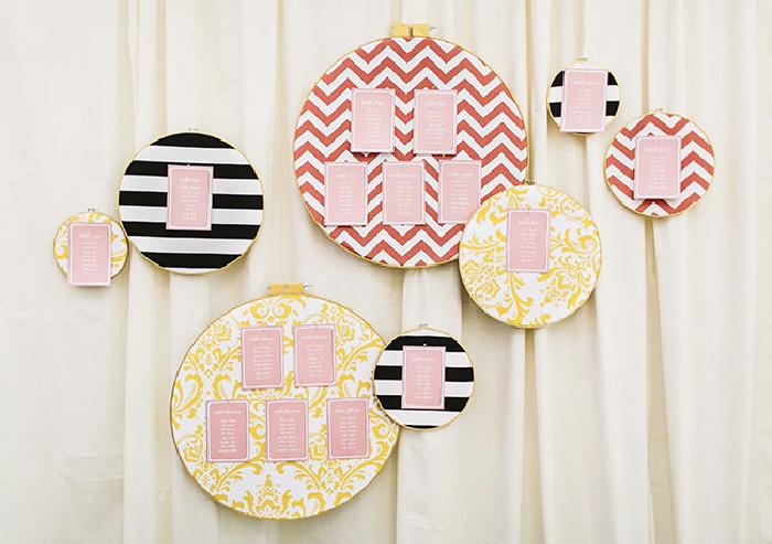 DIY Embroidery Hoop Escort Card Display