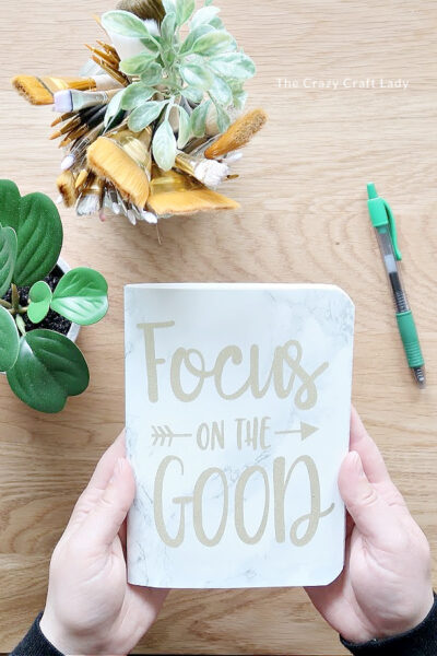DIY Gratitude Journal - marble notebook cover using contact paper