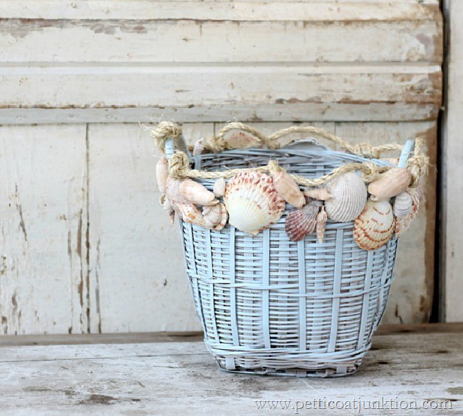 DIY Seashell Basket Planter Idea