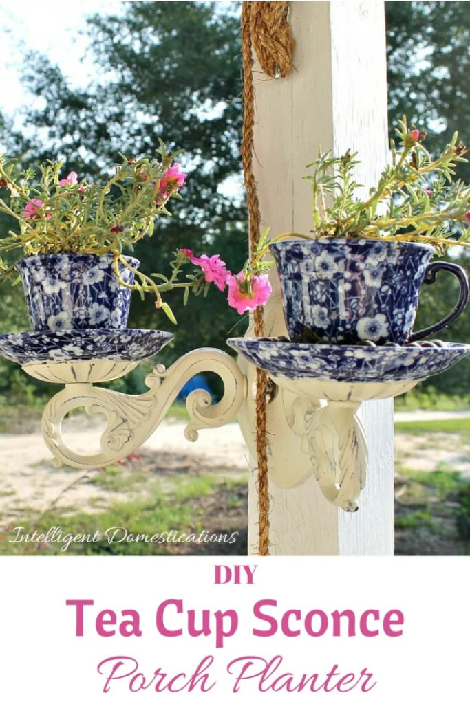 DIY Tea Cup Sconce Planter - how to upcycle old teacups