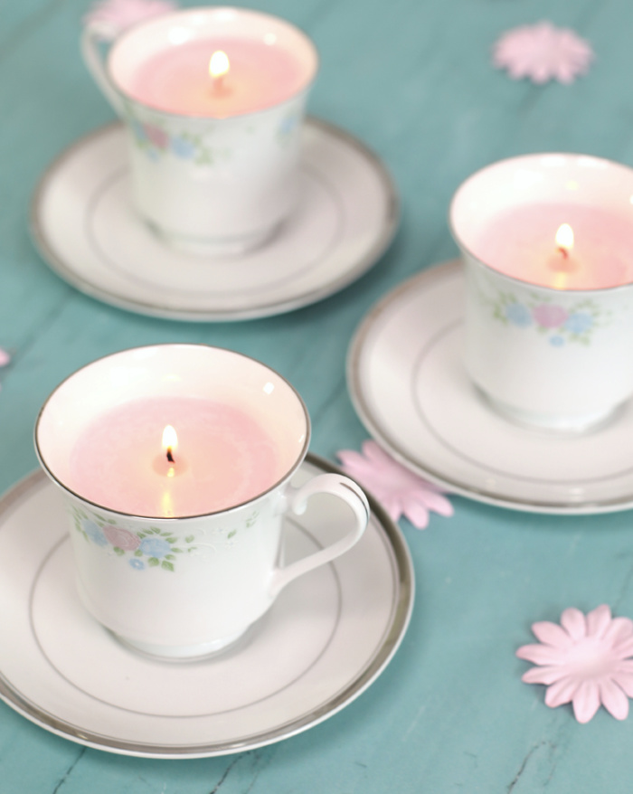 DIY Teacup Candles - how to upcycle old teacups