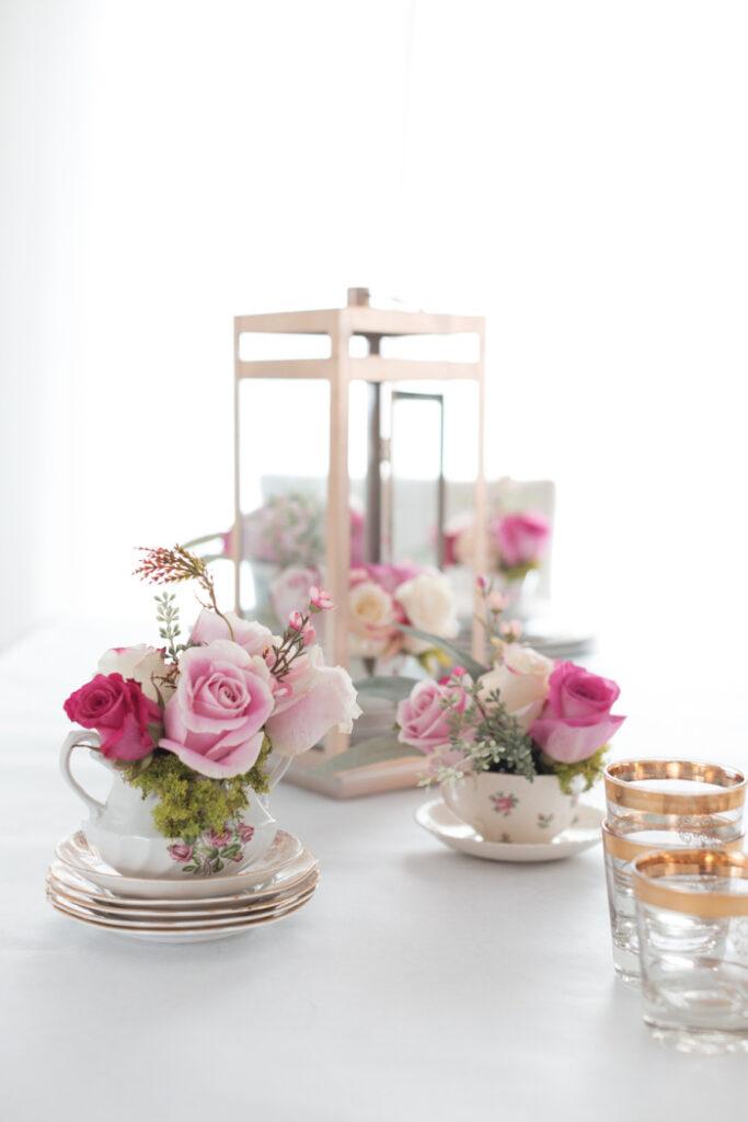 DIY Teacup Floral Arrangement Centerpiece - upcycle old teacups