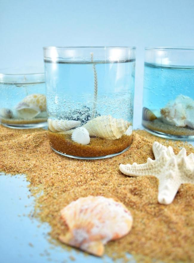 DIY Underwater Seashell Candles