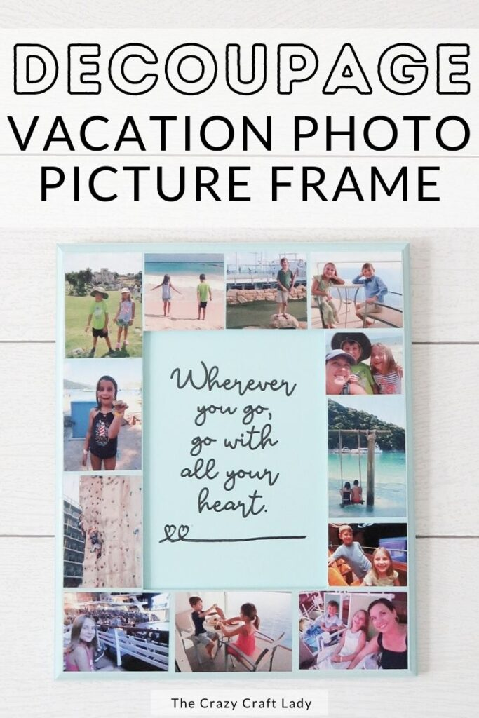 Decoupage vacation photo picture frame