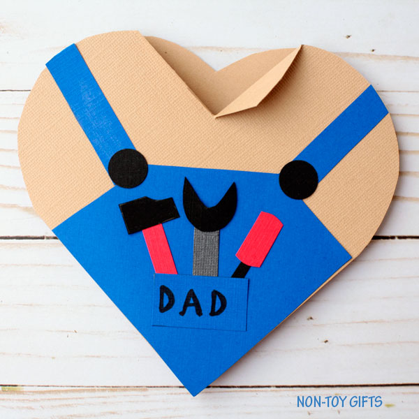 Father's Day Handy Dad Heart Card Kids Can Make - homemade father's day gifts