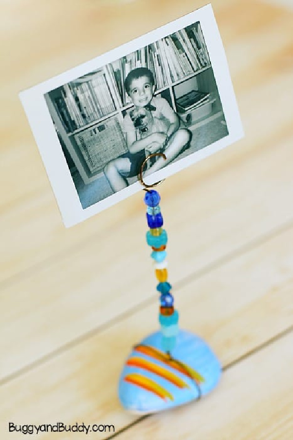 Painted Rock Photo Holder Craft For Kids