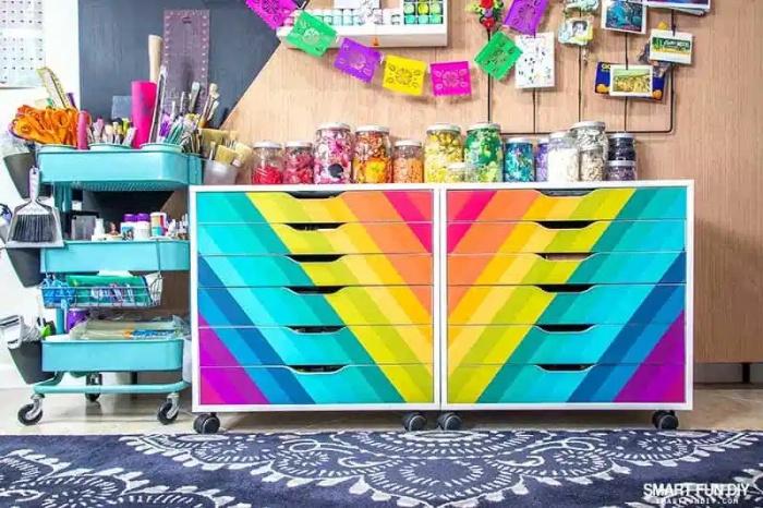 Rainbow Ikea Alex Drawers Hack