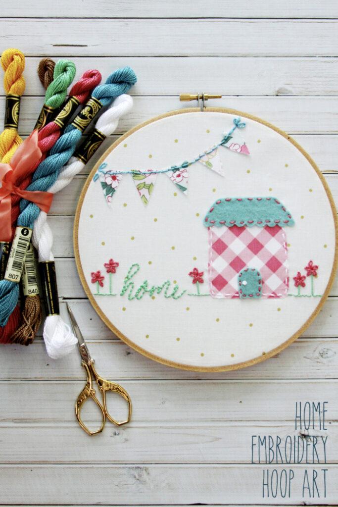 Sweet Home Embroidery Hoop Art