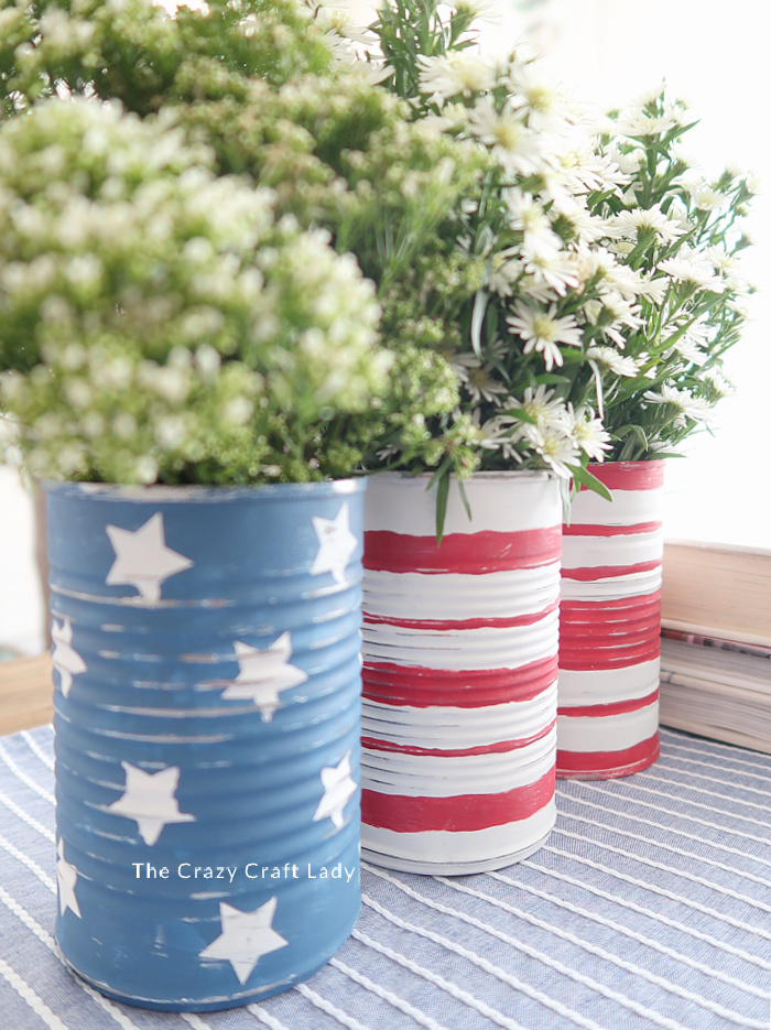 american flag painted tin cans