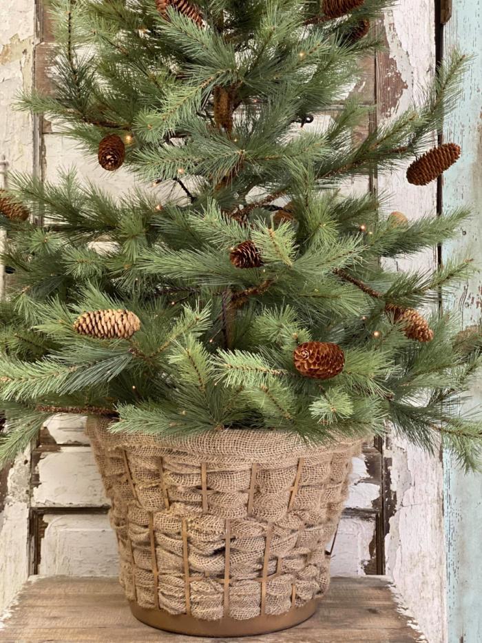 dollar store laundry basket Christmas tree skirt
