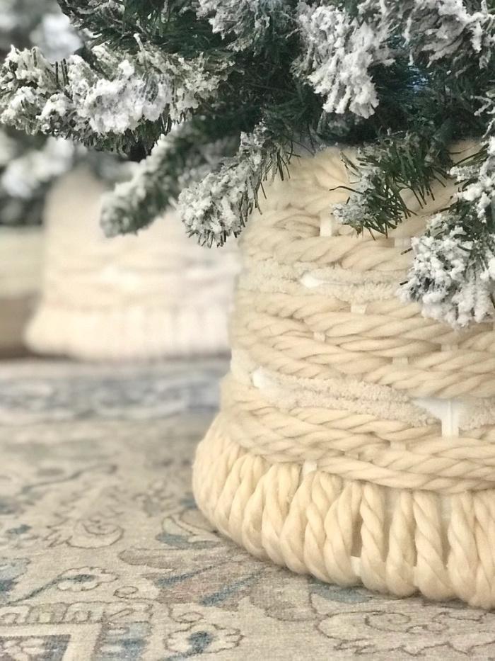 dollar tree laundry basket Christmas tree skirt