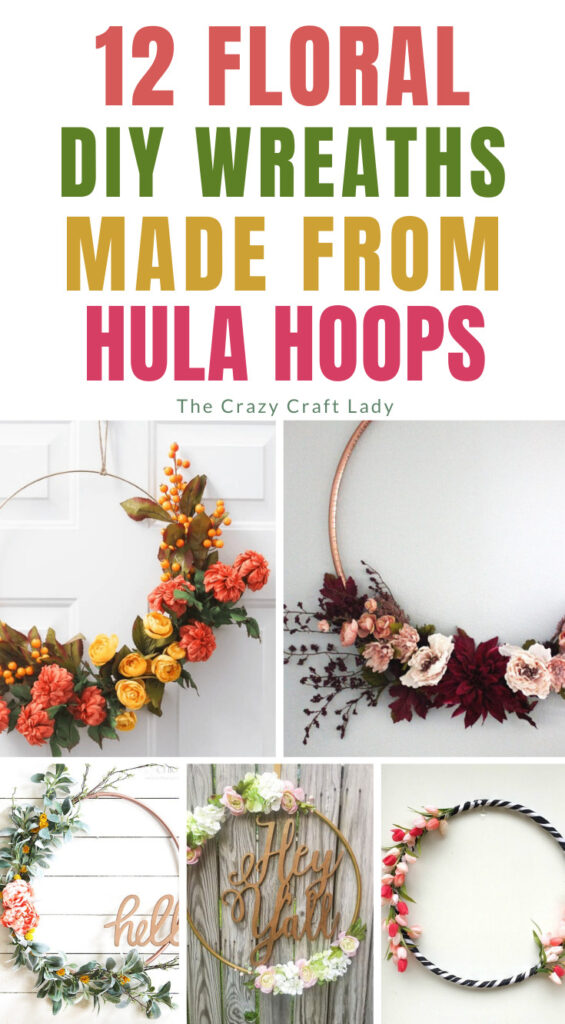 Collage showing 12 DIY wreaths made from hula hoops.