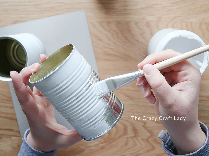 paint tin cans with white chalk paint