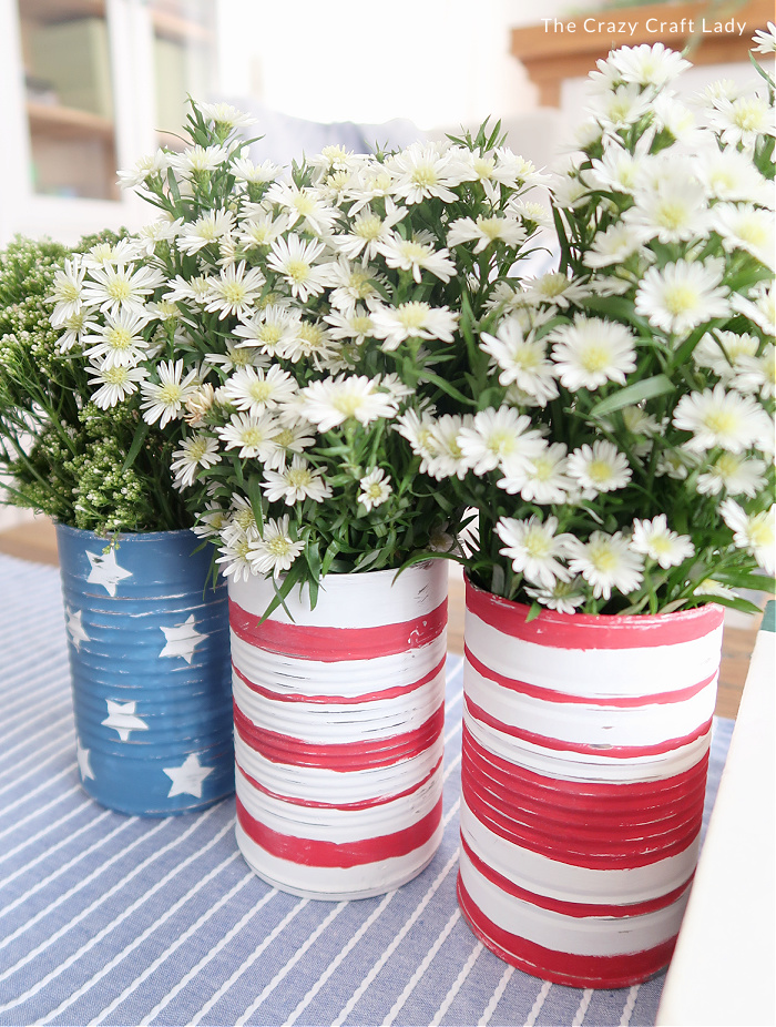 patriotic painted tin cans - red white and blue craft