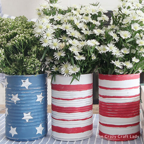 stars and stripes patriotic tin can vases