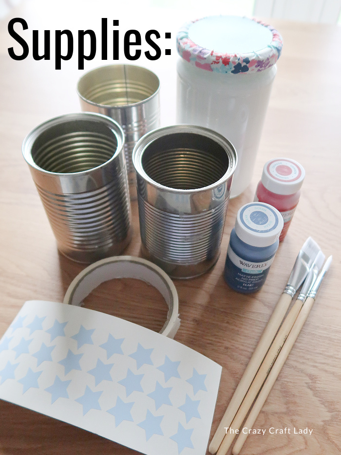 supplies needed to make patriotic painted tin cans