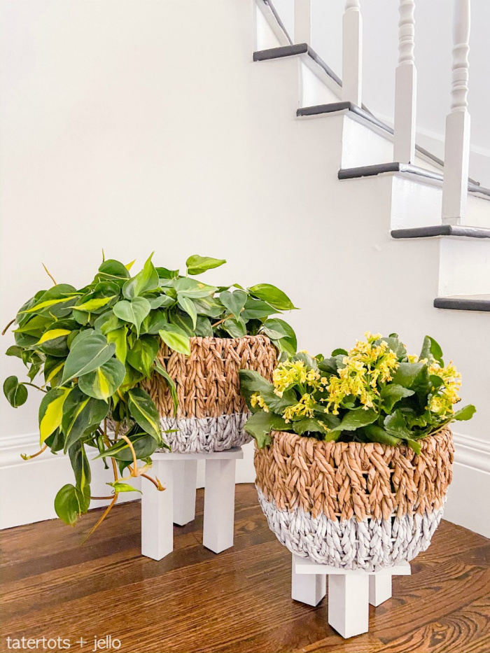 Anthropologie Inspired Basket Planters With Legs