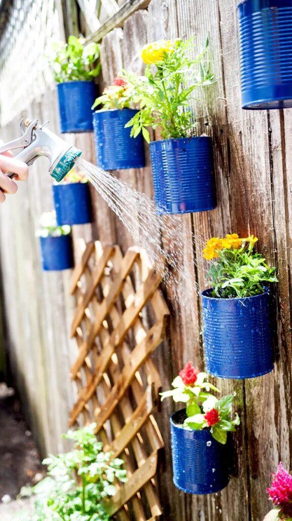 Repurposed Garden Projects - Backyard Tin Fence Garden