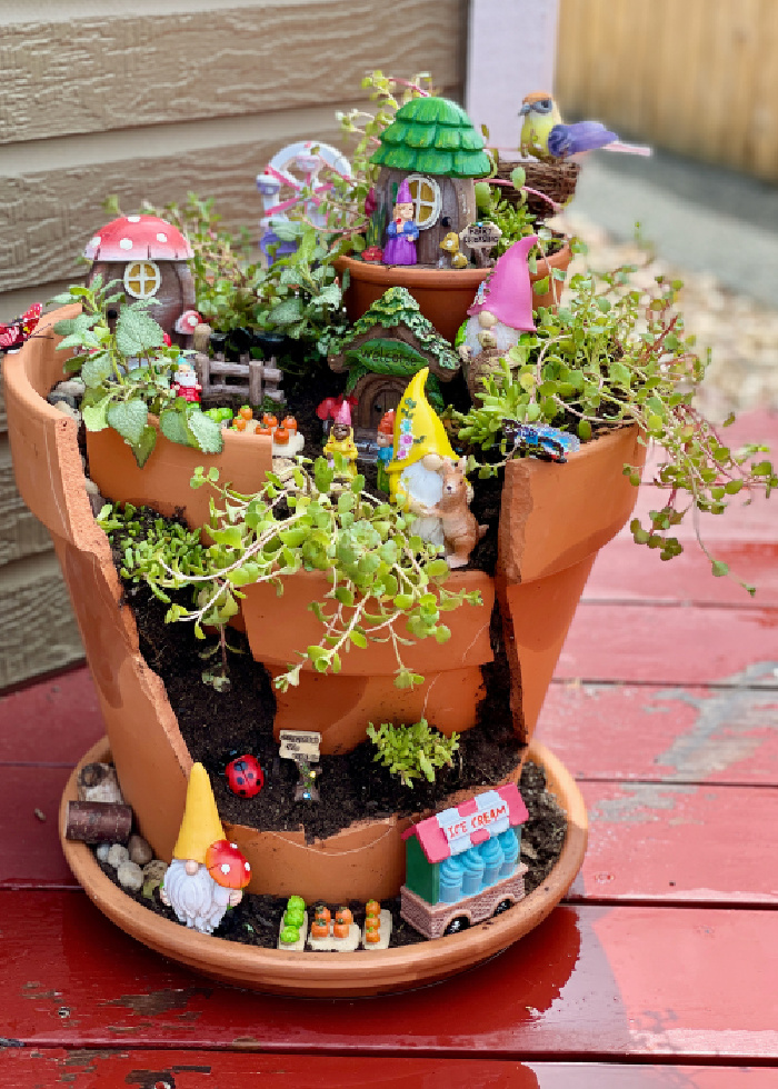 Repurposed Garden Projects - Broken Pot Fairy Garden