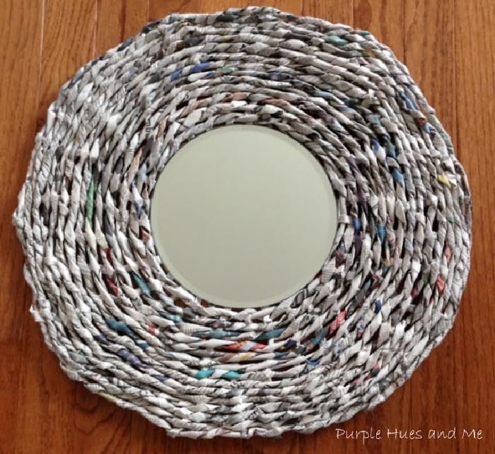 DIY Newspaper Framed Mirror