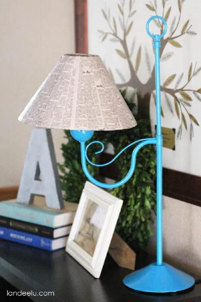 DIY Newspaper Lampshade Makeover