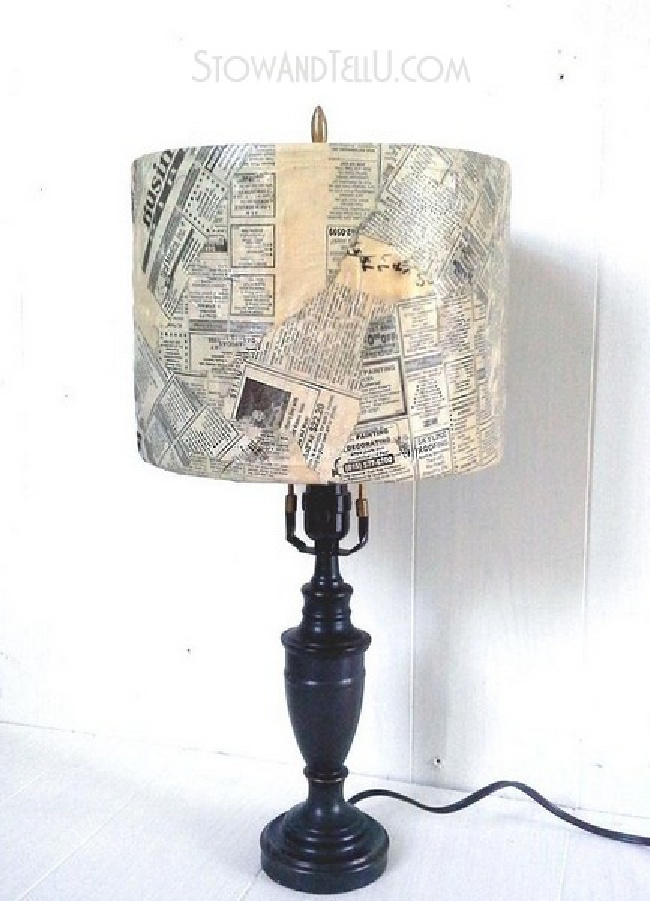 DIY Newspaper Lampshade Project