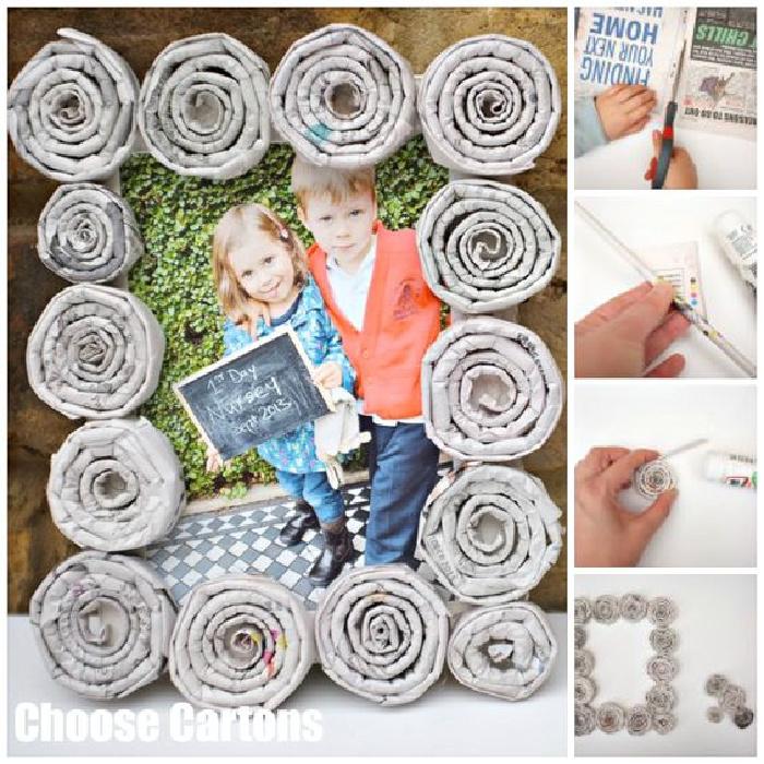 DIY Newspaper Picture Frame Craft - Creative Newspaper Crafts