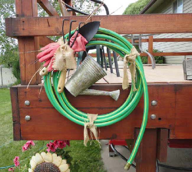 DIY garden hose wreath