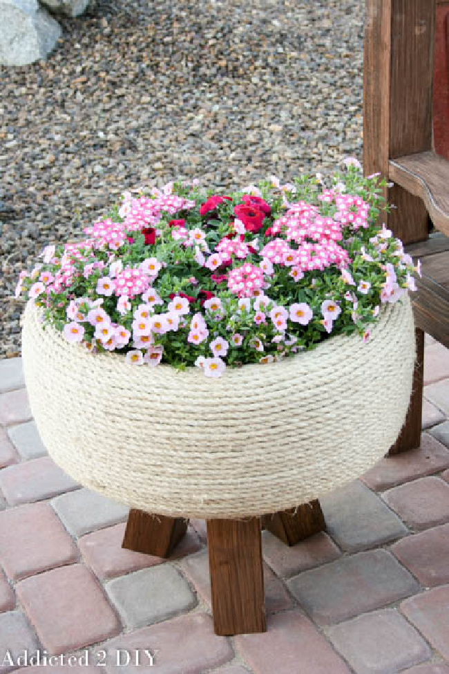 DIY upcycled tire planter