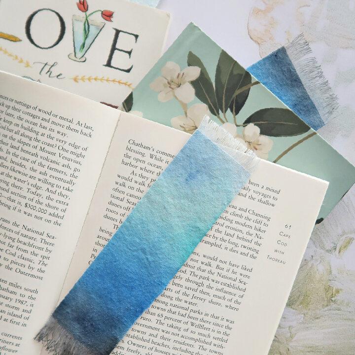 DIY watercolor painted fabric bookmarks