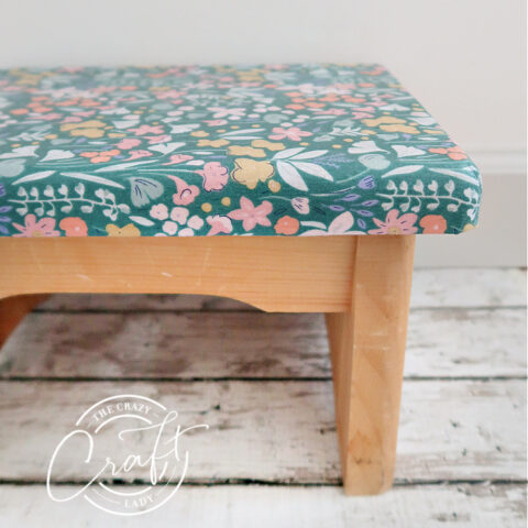 Decoupage fabric step stool project